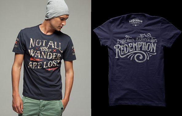 Letra vintage en camiseta