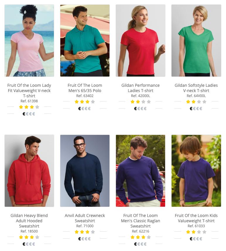 Proveedores de camisetas - catálogo.