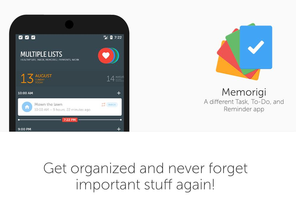 Aplicaciones de productividad - Memorigi
