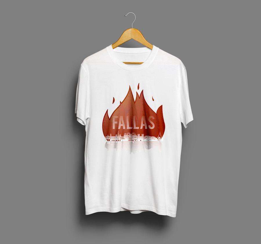 camiseta estampada con serigrafía de las fallas de valencia