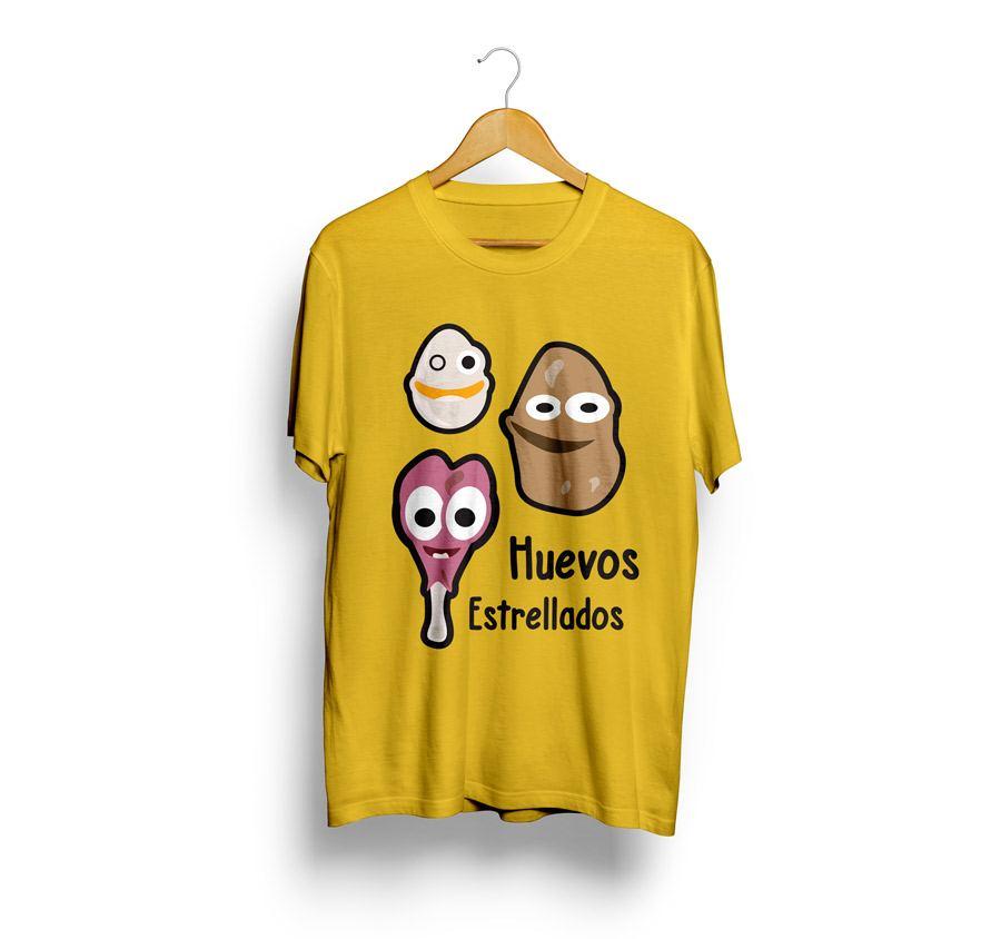 camisetas estampadas con huevos rotos