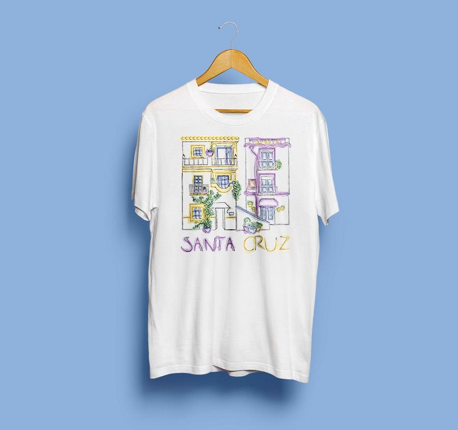 camiseta estampada barrio de santa cruz