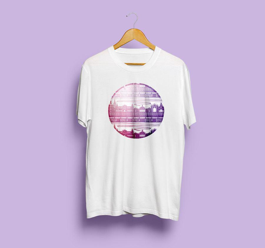 camiseta estampada rio de sevilla