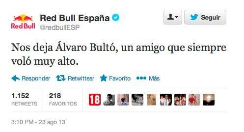 El tweet que envió Twitter después de la muerte de Álvaro Bultó.