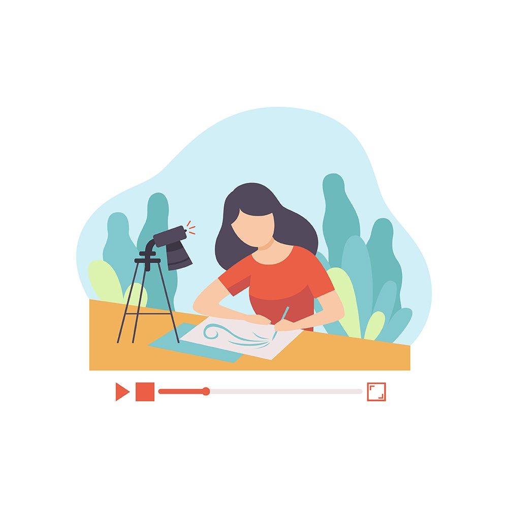 Chica ilustrando en YouTube.