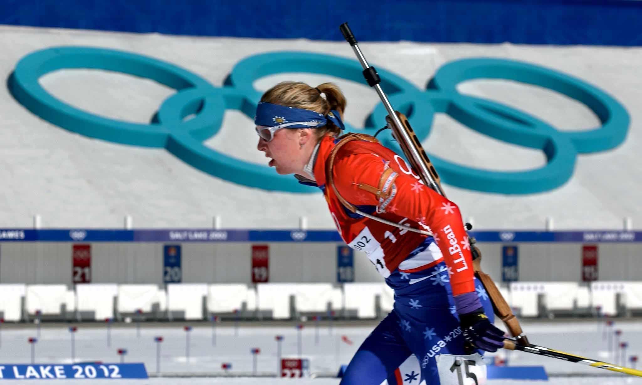 Ropa personalizada - Andrea Nahrgang en las Olimpiadas de invierno 2002 en Salt Lake City.