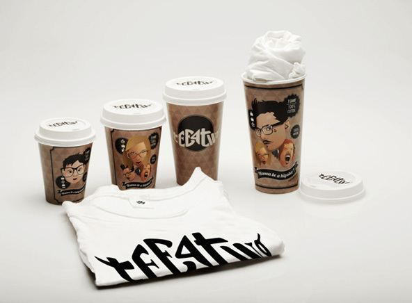 packaging de camisetas - vasos para llevar café